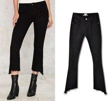 Лидер продаж женские повседневные узкие джинсы стретч Женская Нерегулярные ковбойские штаны модные дизайнерские хлопковые джинсы