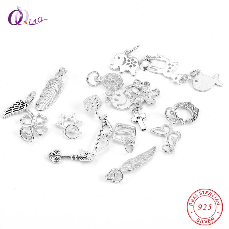 A Pair 925 Sterling Silver Charms Pendant Silver Animal Pendant For Necklace Bracelet Making Women Silver Jewelry 24 Styles