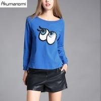 T Shirt Round Collar Full Sleeve Eye Applique Short Irregular Hem T Shirt Solid Blue Women