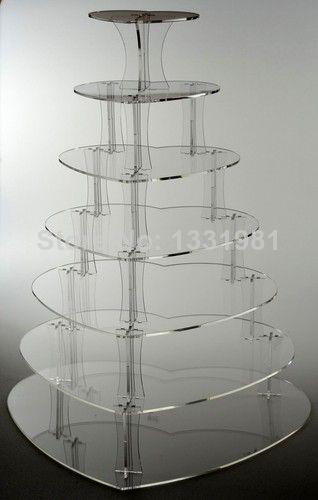 7 niveau coeur acrylique cupcake stand clair stand de gâteau de mariage décoration