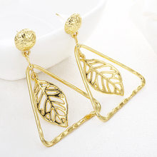 Metal Acrylic Earrings 2019 Big Statement Earrings For Women Resin Oval Square Geometric Drop Dangle Earrings Bohemian Jewelry(China)