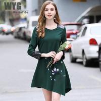 Bán Hot Elastic Dress 2018 Thời Trang Mùa Xuân PU Da Hoa Chắp Vá Sơn Tay Bất Thường Ngắn Ăn Mặc Trong Trở Lại Màu Xanh