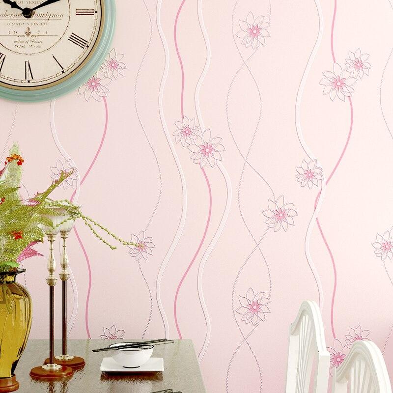 Pedesaan Bunga Wallpaper Gulung 3D Stripes non woven Kertas Dinding untuk Dinding Pink Biru Hijau Ungu