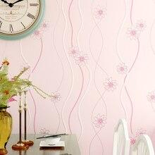 Rustykalny Kwiatowy Paski włókniny Rolki Tapety 3D Tapety na Ścianach Różowy, Niebieski, Zielony, Fioletowy żółty Tapety do Sypialni