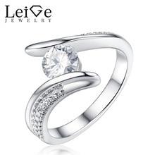 Leige Jewelry White Moissanite Ring Round Cut Bezel Setting Wedding Rings for Women 925 Sterling Silver Christmas Gift