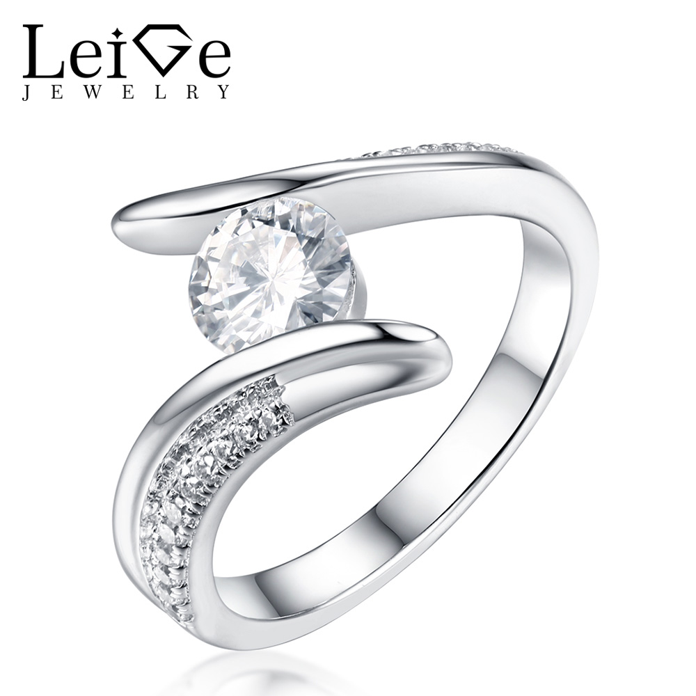 Leige Jewelry White Moissanite Ring Round Cut Bezel Setting Wedding Rings for Women 925 Sterling Silver Christmas Gift ...