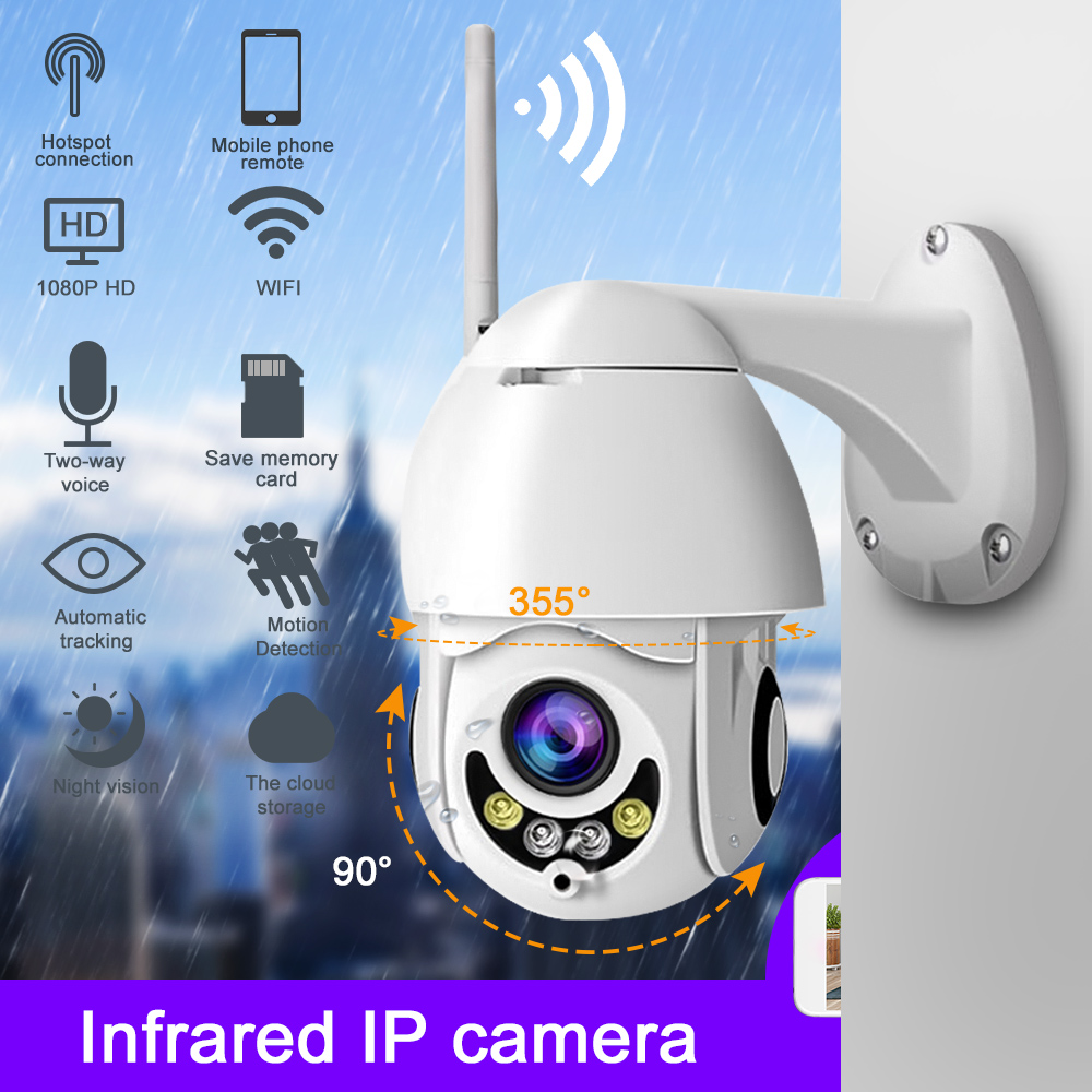 1080P Wireless Speed Dome CCTV Security Wifi Camera Outdoor Infrared IP Camera Two Way Audio P2P