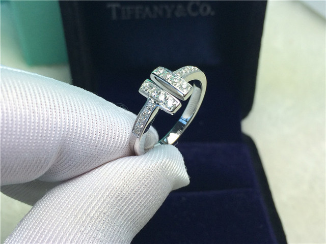 Royal Design Au #2: Vintage T Style Royal Design Solid 18K White Gold Woman Wedding Ring Pure  Gold Au750 Female