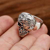 S925 prata ornamentos personalidade estilo punk pirata único olho cabeça de esqueleto Dos Homens populares Retro abertura do anel