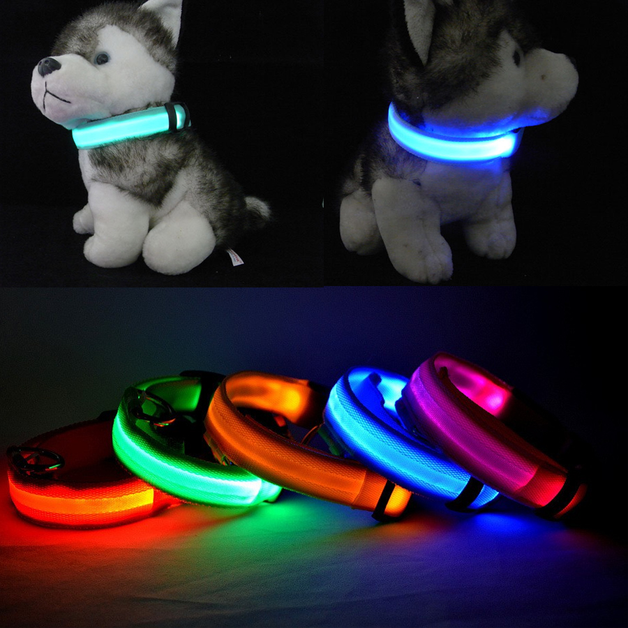 Premium Nylon Adjustable 4 Size Length LED Flashing Pet Dog Safety Collar For Night S