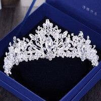 Baroque Luxury Rhinestone Beads Heart Bridal Tiara Crown Silver Crystal Diadem Veil Tiaras Wedding Hair Accessories