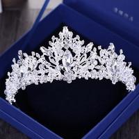 Lujo barroco Granos Del Rhinestone Tiara Nupcial de la Corona de Plata de Cristal Del Corazón Diadema Velo Pelo de La Boda Accesorios Tiaras Tocados