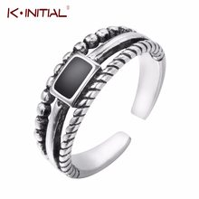 Kinitial Vintage 925 Sterling Silver Simple Black Rings Three Layers Ring For Women Gift Open Sterling Silver Jewelry Bijoux(China)