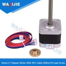 Nema 17 Stepper Motor With 4Pin Cable 300mm T8 LeadScrew Trapezoidal Nuts For CNC Z Axis 1.5A Linear 42 Step 1.8 Step Angle Part stepper motor nema14 non captive linear stepper motor 300mm leasscrew