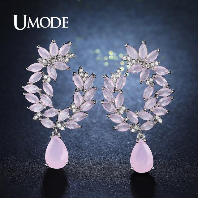 Unique Pink Genuine Austrian Rhinestones Cluster Flower Drop Earrings 2