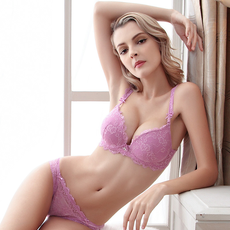 Aliexpress.com   Buy Free Shipping Woman Lady Lace Sexy Floral Push Up  Panties Hollow Sweet Transparent Comfy Fit Bowtie Underwear Sleepwear Bra  Set from ... 3cda7572c