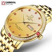 Carnival Automatic Watch Men Golden Red Diamond Mechanical Watches Stainless Steel Waterproof Wristwatch Mens Clock kol saati