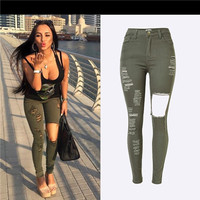 Plus Size Army Green Women Jeans Spring Fashion Hole Elastic Waist Jeans Denim Skinny Trousers High