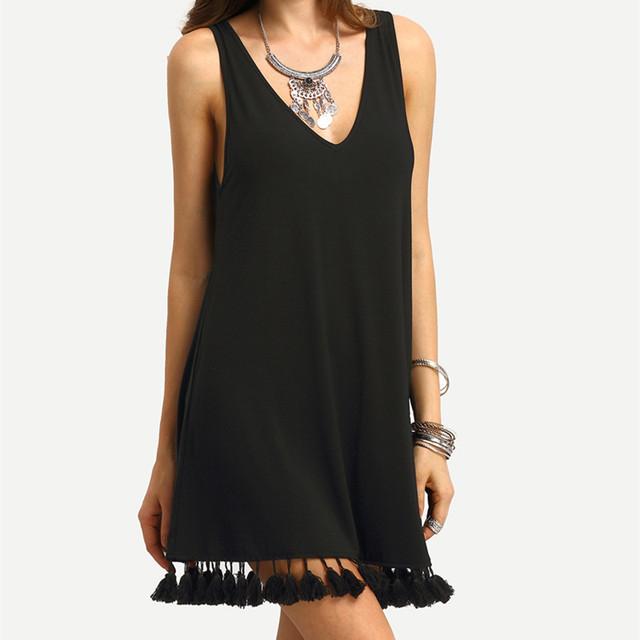 Girl Bohemian Tassel Summer Beach Dress Plus Size Women Tunic Casual Boho Dress Runway Hippie Chic Clothing Sundress XSH21