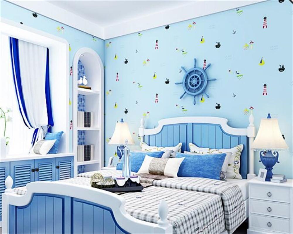 cartoon bedroom boys background 3d wall children sailboat beibehang roll improvement