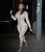 Пикантные Кристаллы Sparkly комбинезон бриллиантовыми наряд Для женщин певица Одежда для танцев этап со стразами костюм ночной клуб платье