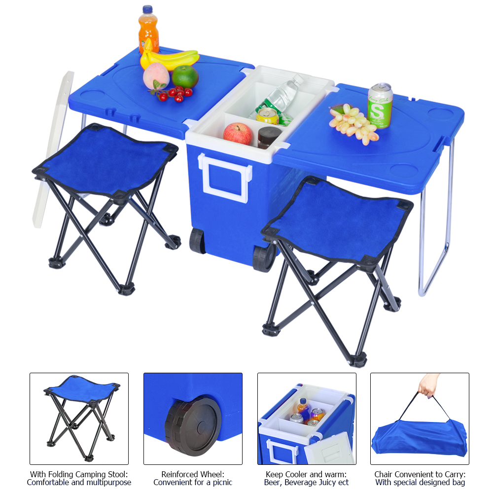 Multi-function Rolling Cooler Upgraded Stool Outdoor Picnic Foldable table/freezer kitchen device