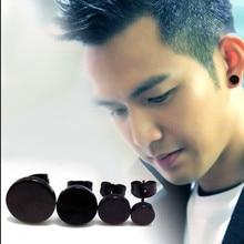 Корейские черные круглые серьги-гвоздики мужские 316L из нержавеющей стали персонализированные панк Модные ювелирные изделия 8 мм