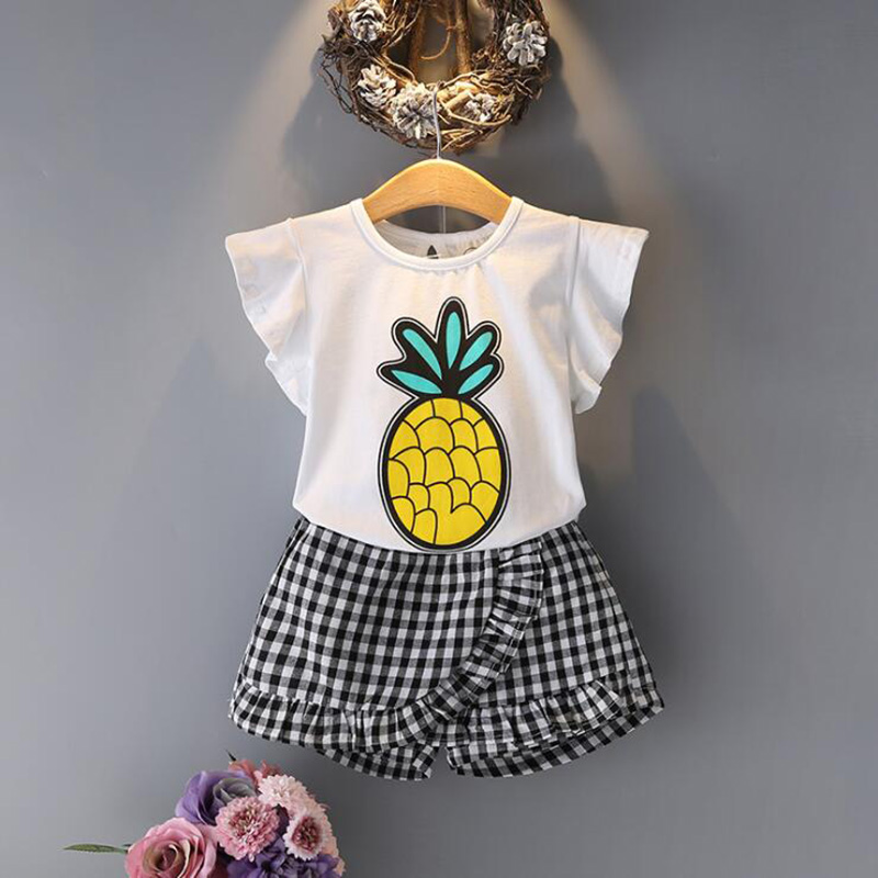 2018 Brand Summer Girls Clothing Sets Fashion Cotton Print Short Sleeve T-shirt + Pants Girls Clothes Sport Suits Crianca Roupas 2017 summer style girls clothing sets fashion cotton print short sleeve t shirt and denim shorts girls clothes casual suits