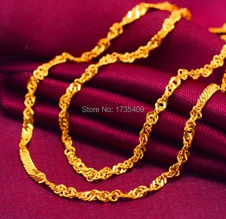 17 9 999 Solid 24K Yellow Gold Chain Necklace Wedding Chain Necklace 3g
