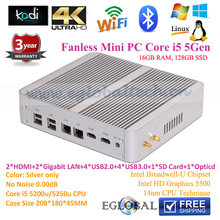 Kiosk PC 2Nics 2HDMI Kodi 4K HTPC 16GB RAM 128GB SSD Fanless Mini PC Computer Windows 10 Intel Broadwell Core i5 5257u Iris 6100
