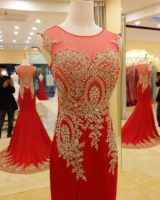 2015 Luxury Sheer Neck Red Gold Formal Evening Prom Dresses ...