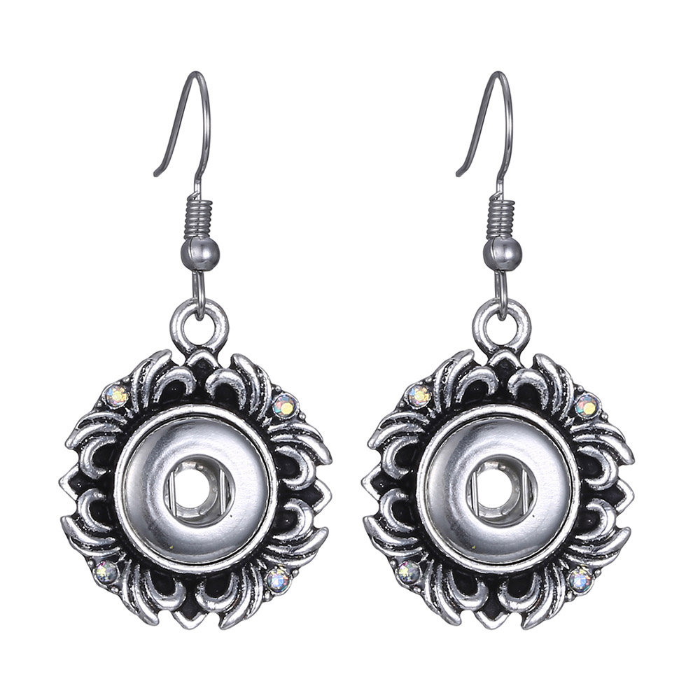 Hot Sale Earring Jewelry 12mm Snaps Button Fashion DIY Charms Silver Plated Design Snaps Earrings Jewelry