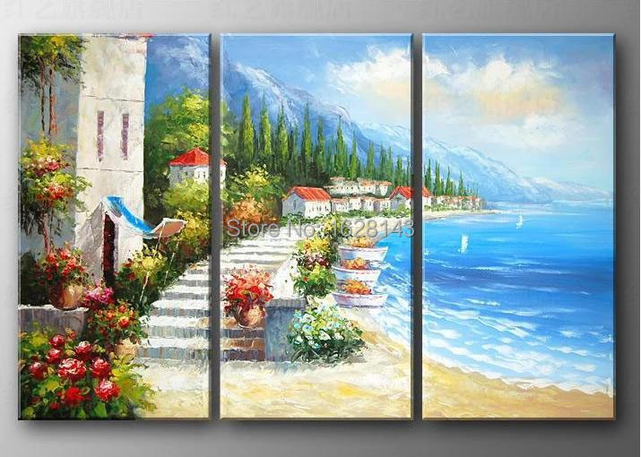 handmade Mediterranean oil painting on canvas beach life canvas wall pictures modern home decoration wall art 3pn30