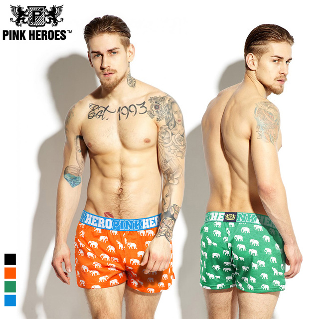 PINK HEROES 100% Cotton Fashion Casual Men Underwear Boxer Shorts Animal  Elephant Print Loose Men Boxers Comfortable !!XL XXL b2a3fb57c