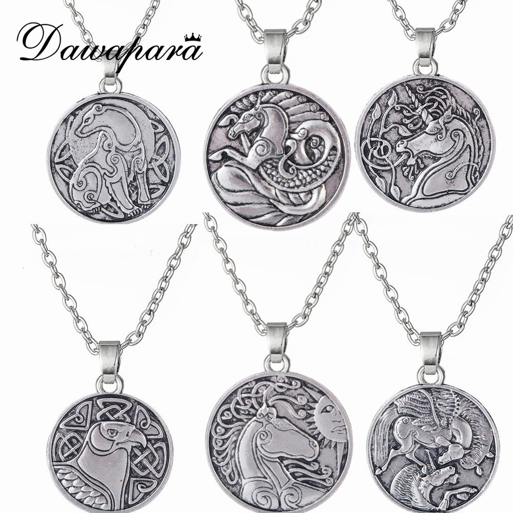Dawapara Irish Animal Knots Bear Eagle Horse Sun Necklace Seahorse Pegasus And Unicorn Jewelry Amulet