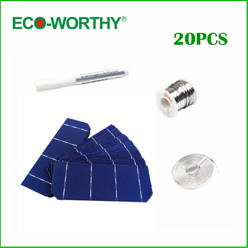 ECO-WORTHY 36W DIY Solar Panel Kit 20pcs 6x2 156x58.5mm Mono Solar Cell Tab Wire Bus Wire Flux Pen for DIY 12v Solar Panel