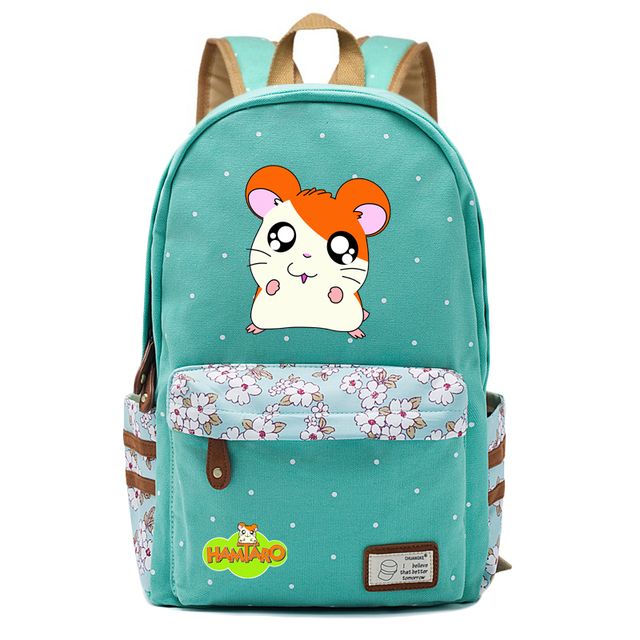 0a0136053d8a Anime Hamtaro hamster Backpack flowers shoulder Travel Bag for teenagers  girls women Canvas dot school bag