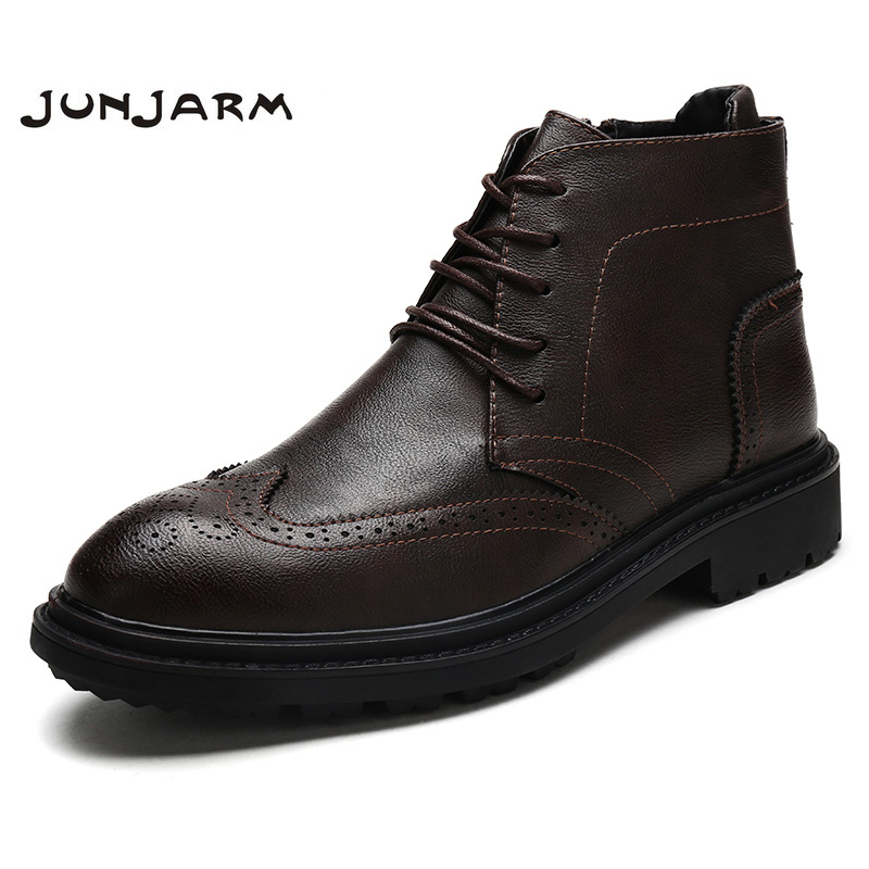 JUNJARM 2019 Men Boots Fashion Men Ankle Boots Handmade Men Brogue Shoes British Style Breathable Casual Men Footwear