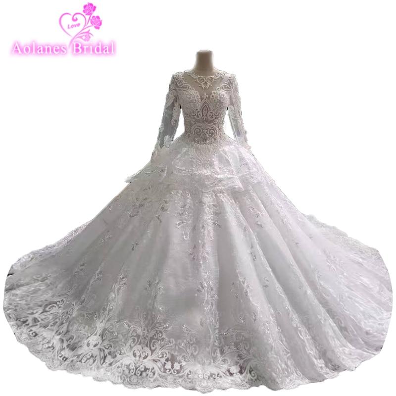 Bateau Neckline Vestido De Noiva Princesa Renda 2018 Royal High Quality Free Customize Vintage Lace Long Sleeves Wedding Dresses