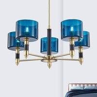 Современные чердак гостиной люстра Nordic краткий Стекло ресторан спальня исследование моды освещения простой вилла лампа
