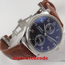 43mm czarna tarcza parnis solidnym zapięciem rezerwa chodu automatyczny męski zegarek P110B w Zegarki sportowe od Zegarki na