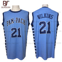 BONJEAN New Cheap Dominique Wilkins 21 Washington High School Pam Pack Throwback Basketball Jersey Blue Stitched