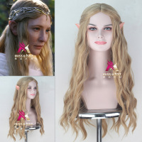 Halloween Elf pointy ears+The Hobbit Galadriel wig women role play long gold wavy hair Elf queen Cate Blanchett hair costumes