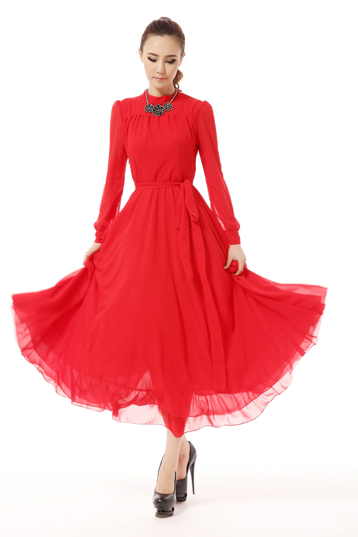 2018 women's spring and summer fashion beautiful dress Retro long-sleeved chiffon dress with pure color and big red sleeves