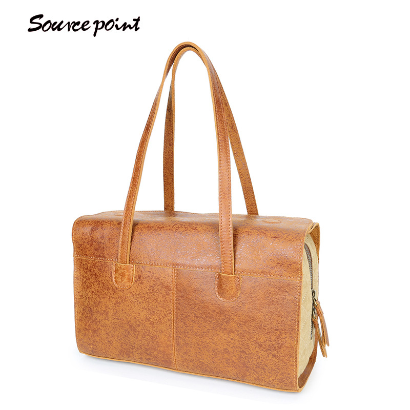 SOURCE POINT Vintage Ladies Large Bags Fashion Genuine Leather Female Shoulder Bags Women Handbags Totes Hight Quality YD-8171 lanso composite handbags for women vintage design handle bags genuine leather zipper shoulder bags fashion ladies casual totes