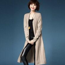 Wool Knit 2016 New Winter Coat Long Sleeve V-neck Casual Long Cardigan Sweater Women Long Sweater