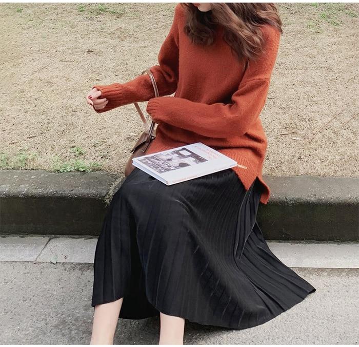 Surmiitro Elegant Solid Midi Pleated Skirt Women 19 Autumn Winter Ladies Korean High Waist A-line School Long Skirt Female 10