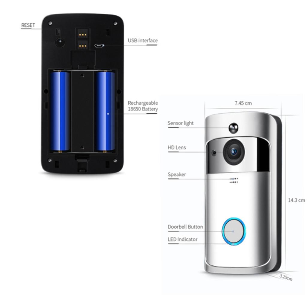 Sonnette sans fil appel téléphone intelligent porte cloche WIFI sonnette pour appartements étanche US EU prise batterie puissance porte cloche sans fil - 5