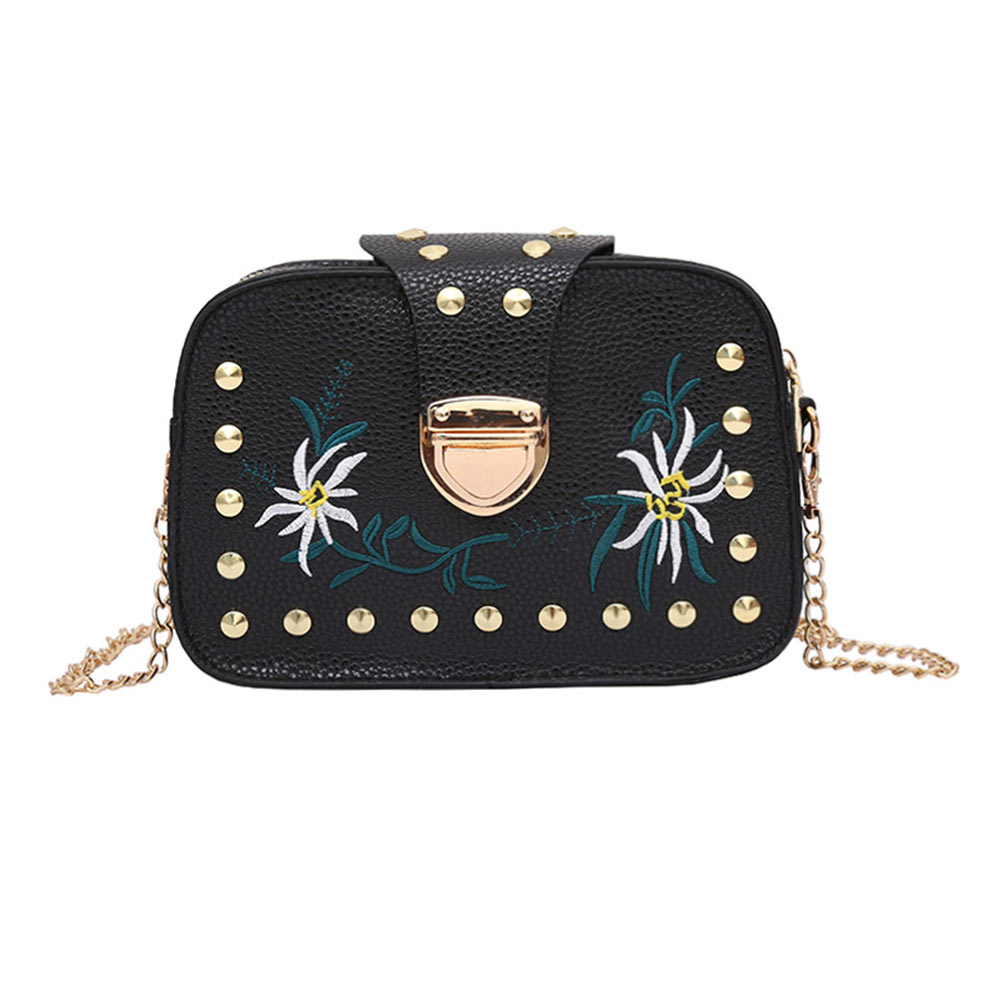 Vintage Women Mini Shoulder Bag PU Leather Flowers Embroidery Rivets Metal Chain Ladies Crossbody Messenger Bags LT88