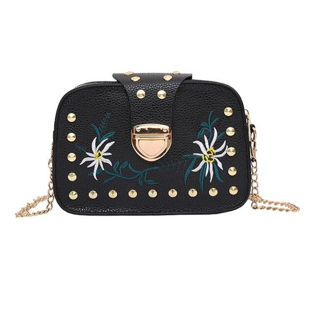 313bf5c80d Vintage Women Mini Shoulder Bag PU Leather Flowers Embroidery Rivets Metal Chain  Ladies Crossbody Messenger Bags LT88